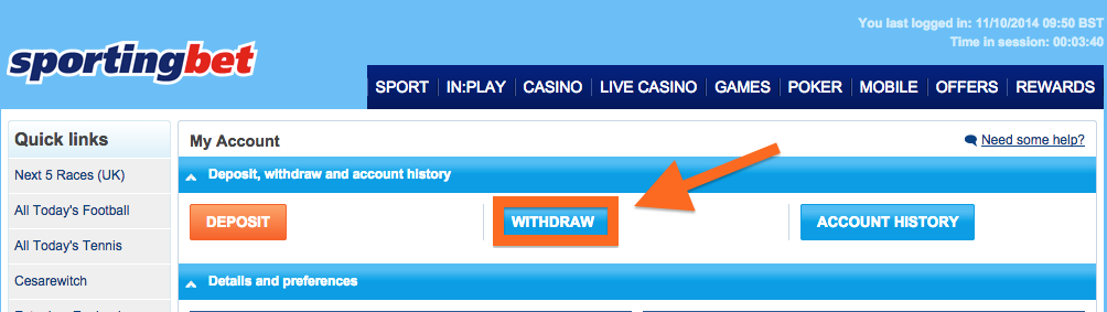 sportingbet payment